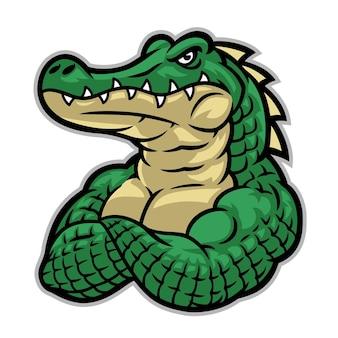 Mascotte coccodrillo con un enorme corpo muscoloso