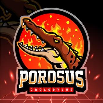 Crocodylus porosus mascotte. design del logo esport