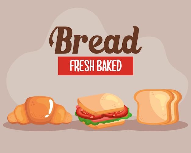 Panino croissant e pane toat del negozio di alimentari da forno e tema colazione.