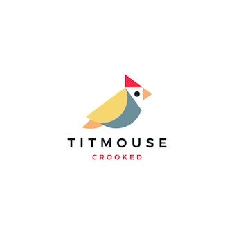 Illustrazione dell'icona di vettore di logo dell'uccello del paro curvato