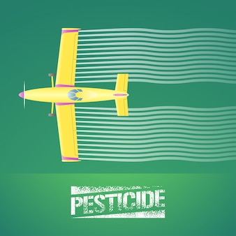 Illustrazione di aereo spolverino. vista aerea dell'aeroplano di volo che spruzza terreno coltivabile verde. elemento di concetto di design per parassiti, controllo degli insetti, tecnologia agricola con segno di pesticidi e spolverino