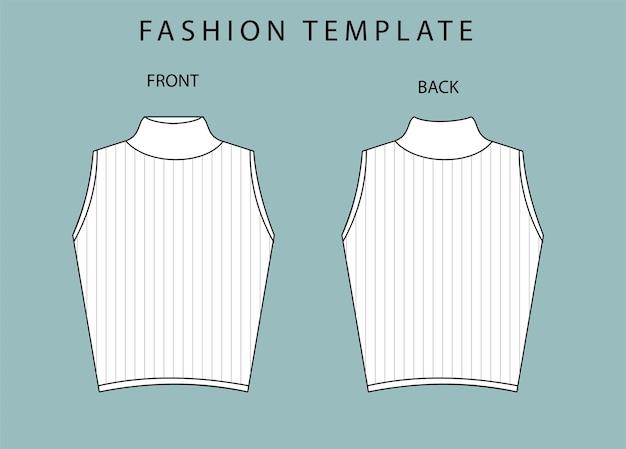 Modello di schizzo piatto crop top fashion