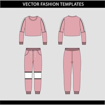 Crop top e pantaloni modello di schizzo piatto di moda, abbigliamento da jogging davanti e dietro, abbigliamento sportivo