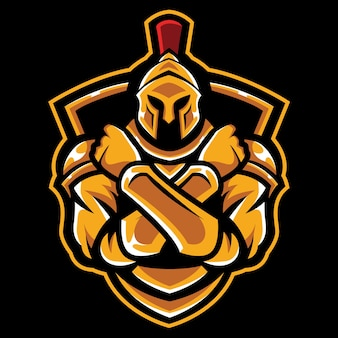 Cross arm knight esport logo illustrazione