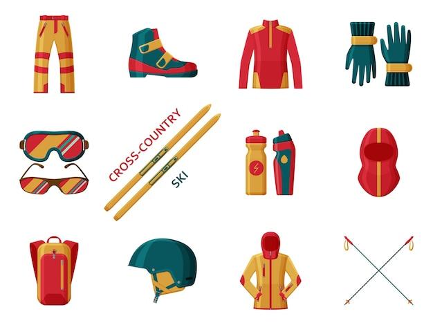 Collezione di sci di fondo. set con attrezzatura, abbigliamento e scarpe