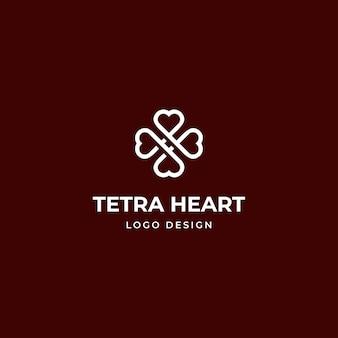Logo a forma di cuore incrociato per assistenza sanitaria, bellezza e moderne attività termali