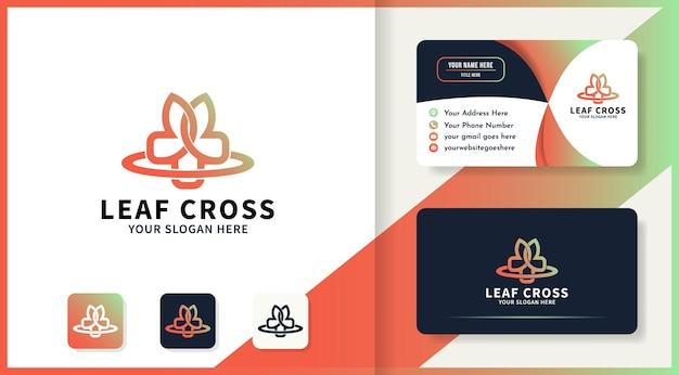 Design del logo e biglietto da visita con foglie o fiori incrociati