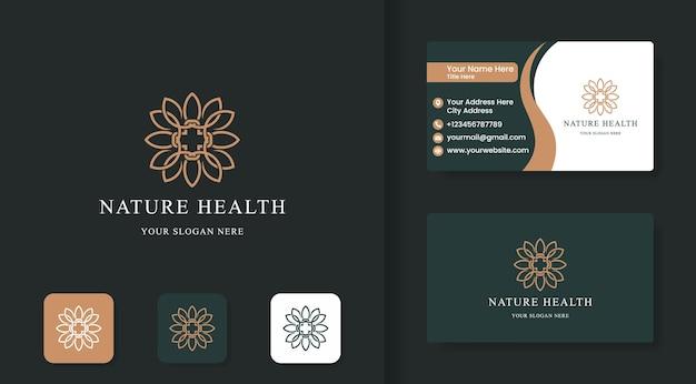 Design del logo a foglia incrociata salute naturale e design del biglietto da visita