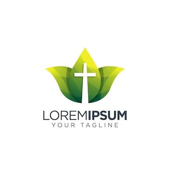 Logo a croce Vettore Premium