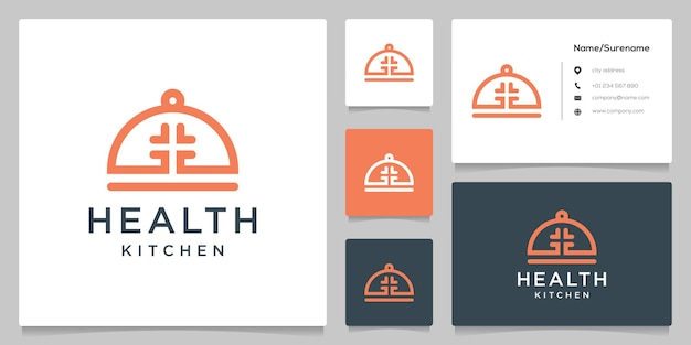 Disegno del logo della cucina alimentare medica incrociata con biglietto da visita