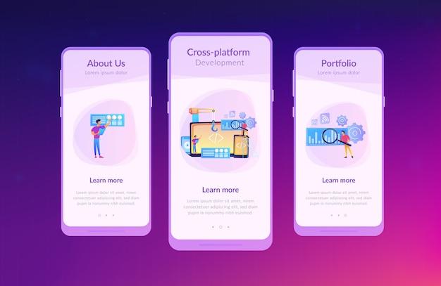 Modello di interfaccia dell'app di sviluppo multipiattaforma.
