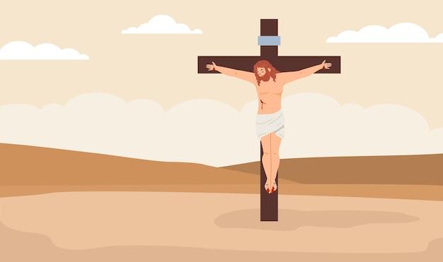 Croce con gesù cristo crocifisso in un'illustrazione piana di vettore di colore del deserto