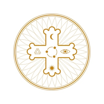 Croce con il simbolo sacro della religione occulta in cerchio isolato