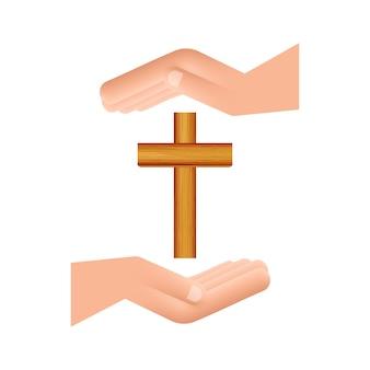 Croce icona di legno nel design delle mani su sfondo bianco. icona di religione.