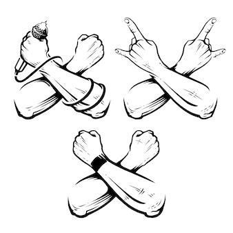 Set di mani incrociate rock