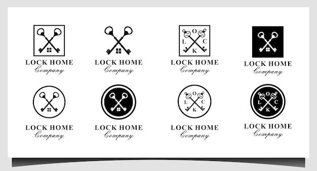 Chiave incrociata per il design del logo aziendale house estate