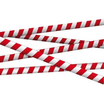 Nastro d'avvertimento bianco rosso attraversato
