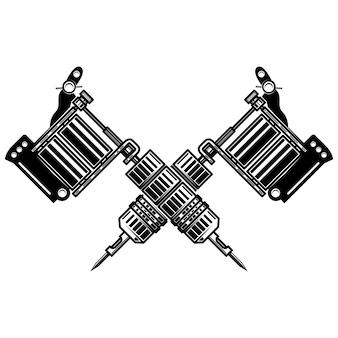 Macchinette per tatuaggi incrociate su sfondo bianco. elemento per poster, emblema, segno, distintivo. illustrazione