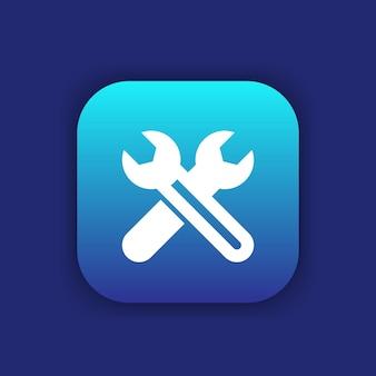 Icona chiavi incrociate, riparazione, assistenza