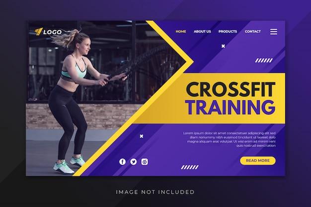 Modello di landing page di allenamento crossfit