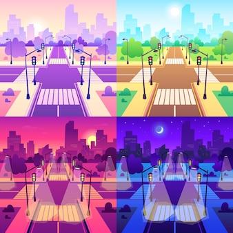 Incrocio con attraversamento pedonale. intersezione del traffico stradale, paesaggio urbano di giorno e illustrazione urbana del fumetto del bivio