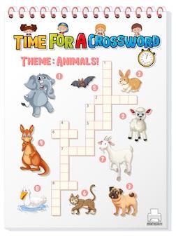 Modello di gioco cruciverba sugli animali