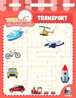 Modello di gioco cruciverba sul trasporto
