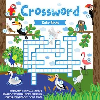 Gioco di puzzle cruciverba di simpatici uccelli