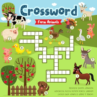 Gioco di puzzle cruciverba di animali da fattoria