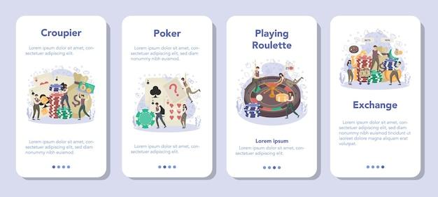 Set di banner per applicazioni mobili croupier