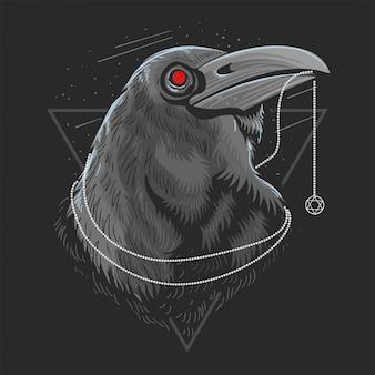 Vettore di artwork di raven bird bird