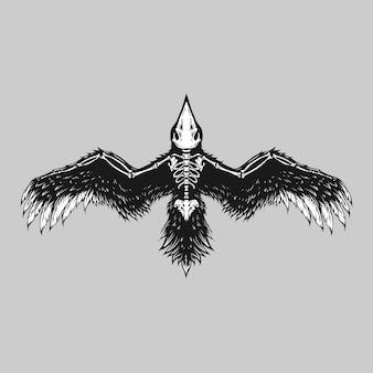 Illustrazione di crow bird skelleton