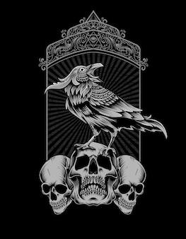 Uccello corvo con testa teschio vintage