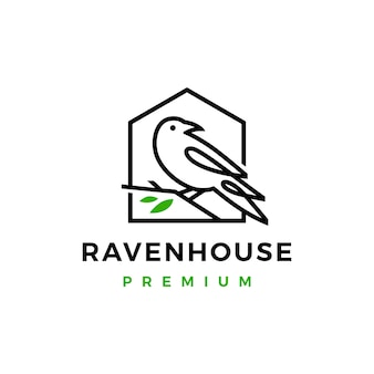 Crow raven bird leaf line logo