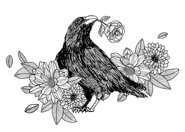Corvo e rosa disegno a mano e schizzo in bianco e nero