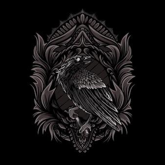 Corvo con cornice ornamento illustrazione su sfondo nero