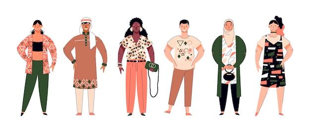 Folla di persone multietniche personaggi dei cartoni animati illustrazione