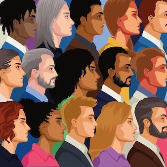 Personaggi di persone di folla