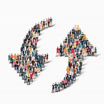 La folla di persone forma la direzione della freccia