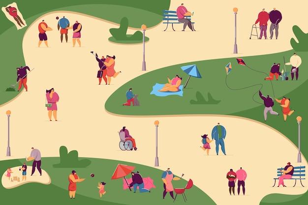 Folla di varie persone che camminano nell'illustrazione piana del parco