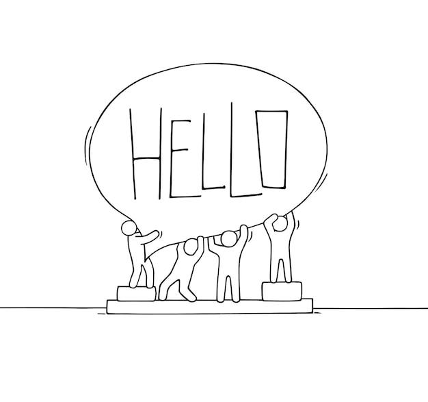 Folla di piccole persone che lavorano con il fumetto. doodle carino scena in miniatura con messaggio hello. illustrazione di vettore del fumetto disegnato a mano per la progettazione di internet.