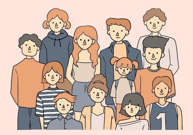 Folla di giovani carino illustrazione disegnata a mano