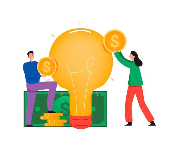 Composizione di crowdfunding con illustrazione piatta di contanti lampada idea e persone in possesso di monete