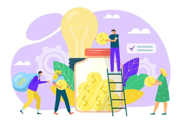 Concetto di crowdfunding in illustrazione stile piatto