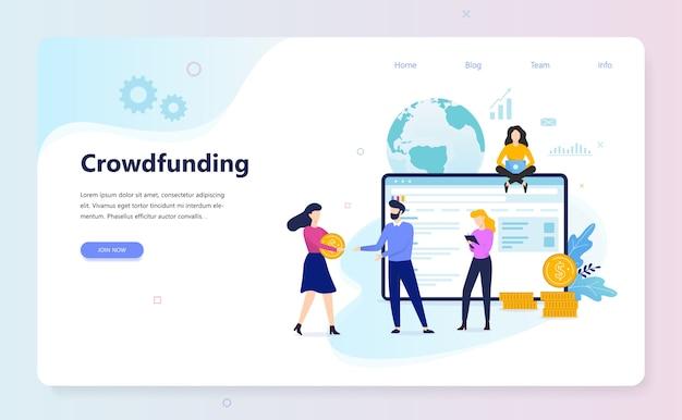 Concetto di crowdfunding. idea di raccogliere fondi per affari