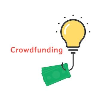 Icona di crowdfunding con lampadina di contorno. concetto di lampada, investimento, reddito di avvio, scambio globale, innovazione di successo, sponsor. stile piatto tendenza moderna logo design illustrazione vettoriale su sfondo bianco