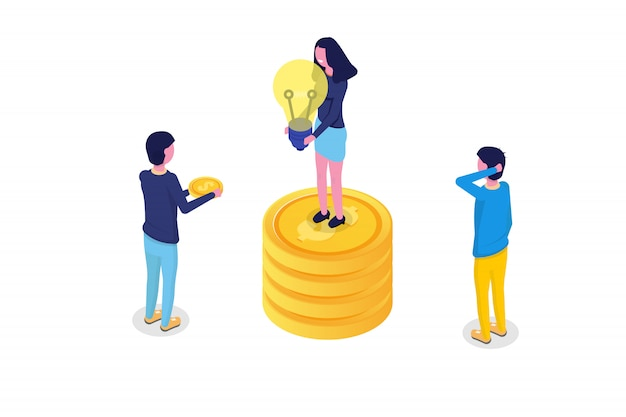Concetto isometrico di crowdfunding con le persone. illustrazione vettoriale