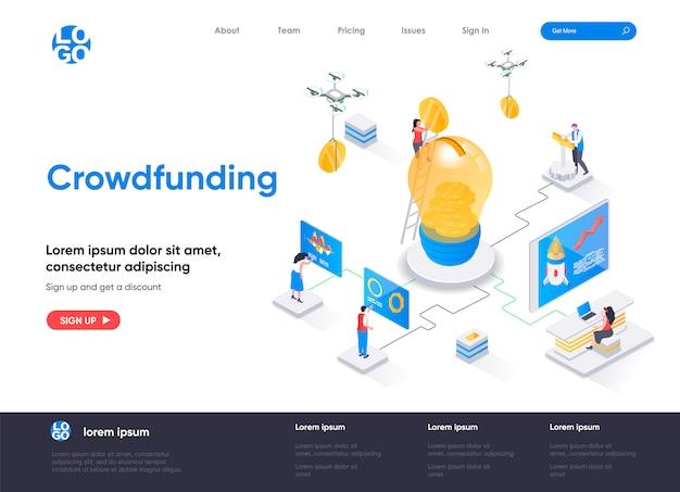 Modello di pagina di destinazione isometrica di crowdfunding