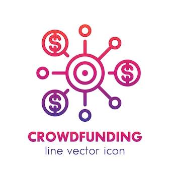 Icona della linea di crowdfunding su bianco, crowdsourcing, raccolta di fondi, contributi