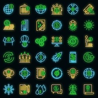 Set di icone della piattaforma di crowdfunding. delineare l'insieme delle icone vettoriali della piattaforma di crowdfunding colore neon su nero